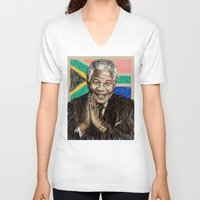 mandela V-neck T-shirts featuring MANDELA by Stan Kwong