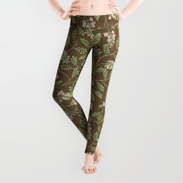 Acacia false branches on brown background Leggings