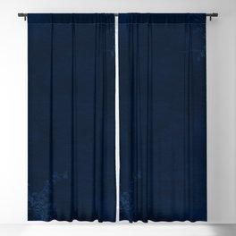 Deep Blue Velvet Texture Rose Flowers Blackout Curtain