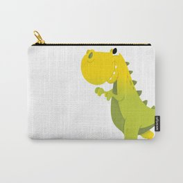 Happy Cartoon Green T-Rex Dinosaur Carry-All Pouch