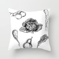 vegetables Throw Pillows featuring VEGETABLES by Johan Olander