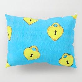 Gold Heart Locks Pillow Sham