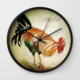 Rooster Watercolor Art by CheyAnne Sexton Wall Clock