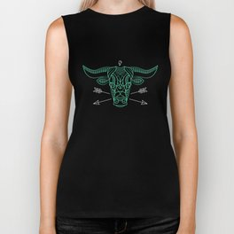 Cool Thin Line Long Horn Bull Drawing Biker Tank
