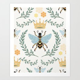 Queen Bee with Gold Crown and Laurel Frame Art Print