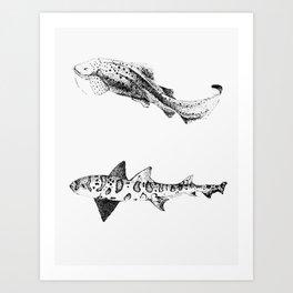 Two Sharks  Art Print