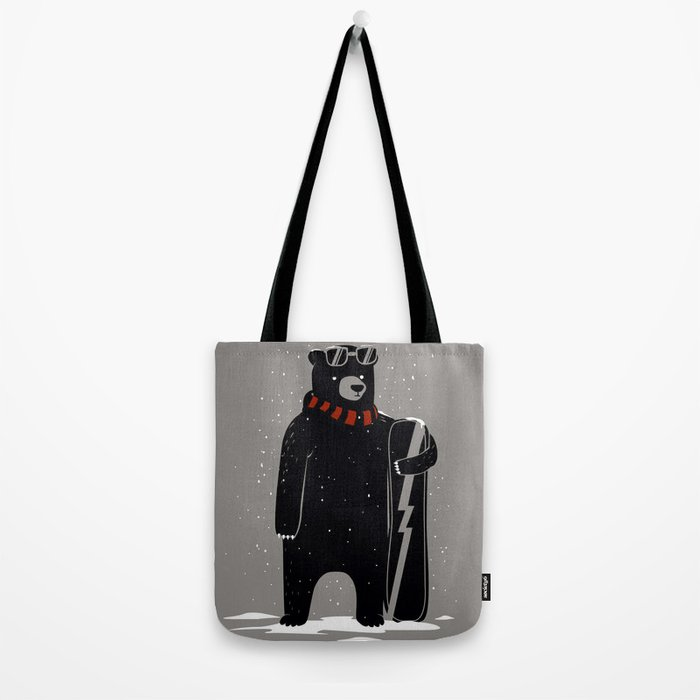 Bear on snowboard Tote Bag