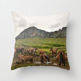 Wild horses on Easter Island Throw Pillow
