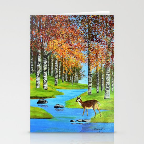 Birch trees in the fall  Stationery Cards