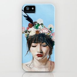 Portrait of Athena Goddess of Arts, Literature and War with Intelligent Reason iPhone Case