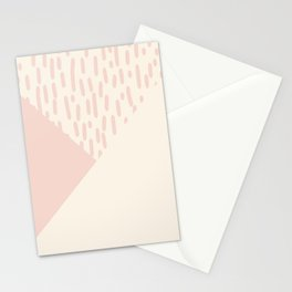 Modern geometrical ivory pink color block paint brushstrokes Stationery Cards