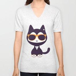 Cute kitten in sunglasses Unisex V-Neck