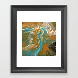 Orange Blue Green Pour Painting Framed Art Print