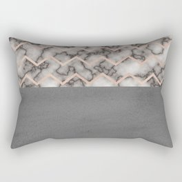 Painted Marble - Black and Rose Gold Rectangular Pillow