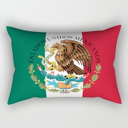 Mexican flag (augmented scale) with Coat of Arms (overlaid) Rectangular Pillow