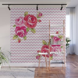 Roses on geometric pattern Wall Mural