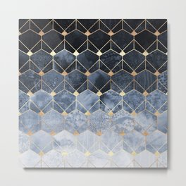 Blue Hexagons And Diamonds Metal Print