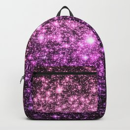 Glitter Galaxy Stars : Pink Lavender Purple Ombre Backpack