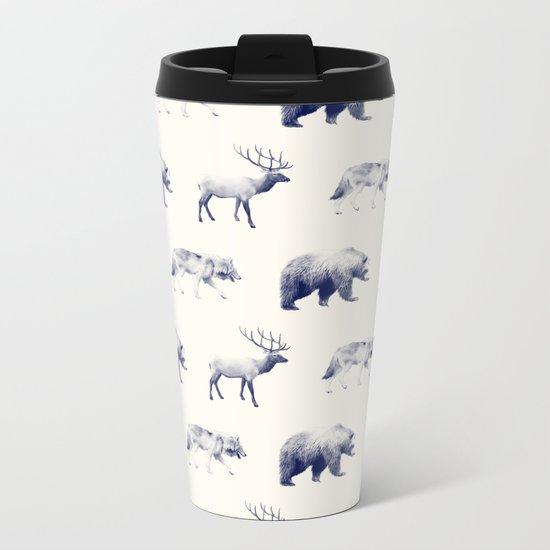 Wild Pattern // Blue Metal Travel Mug