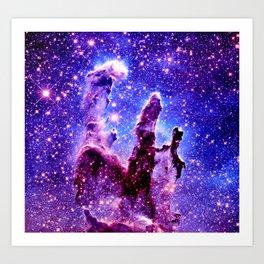 Galaxy Nebula : Pillars of Creation Purple Blue Art Print