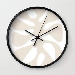 Abstract Monstera Leaf 2. White Wall Clock
