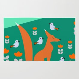 Spring day with fox and birds Rug