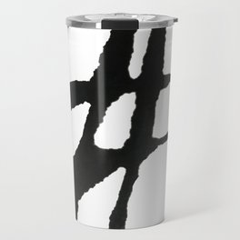 0523: a simple, bold, abstract piece in black and white by Alyssa Hamilton Art Travel Mug