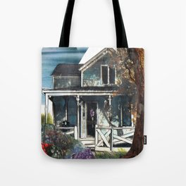 House, Vintage Mixed Media Photograph by Seattle Artist Mary Klump Tote Bag