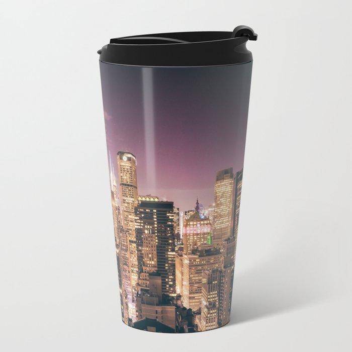 New York City - Chrysler Building Lights Metal Travel Mug