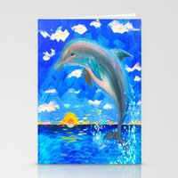 Stationery Cards featuring Baby Dolphin 5D Radiance by fifthdimensionart