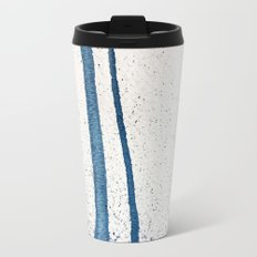 Parallel Universe [vertical]: a pretty, minimal, abstract piece in lines of vibrant blue and white Metal Travel Mug
