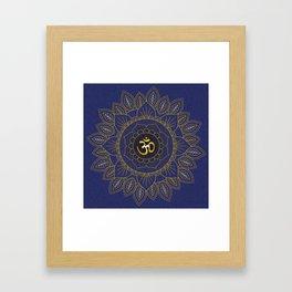 Om Symbol and Mandala in Spiritual Gold Purple Blue Violet Framed Art Print