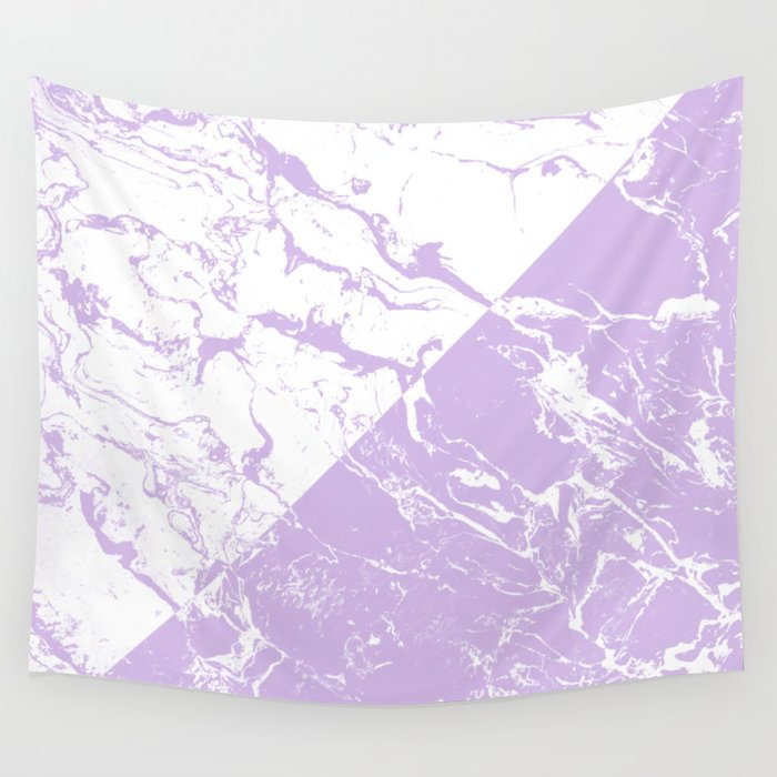 Modern Color Block Inverted White Purple Lavender Marble Pattern Wall Tapestry