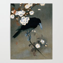 Vintage Japanese Crow and Blossom Woodblock Print Poster