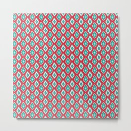 Abstract red teal green diamond pattern Metal Print