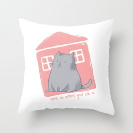 Home is where your cat is Throw Pillow