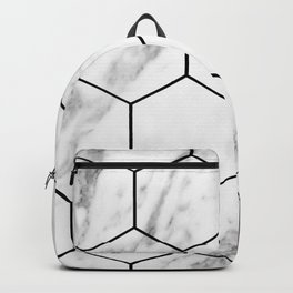 Marble hexagonal tiles - geometric beehive Backpack