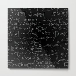 Chalk board mathematics pattern Metal Print