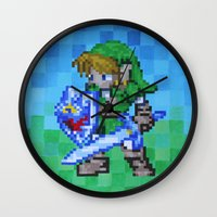 8bit Wall Clocks featuring 8bit Link by Cariann Dominguez