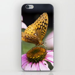 yellow butterfly on flower iPhone Skin