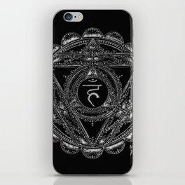 Black and White Throat Chakra iPhone Skin