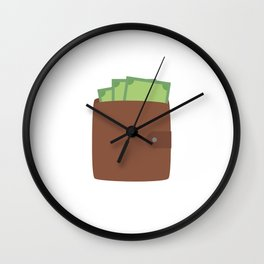 Wallet with money Wall Clock