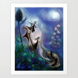 Thistle Fairies in Blue Art Print