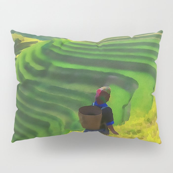 Hillside Harvest | Terraced Agriculture In China | Watercolor Painting Pillow Sham