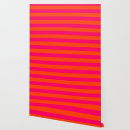 Bright Neon Pink and Orange Horizontal Cabana Tent Stripes Wallpaper