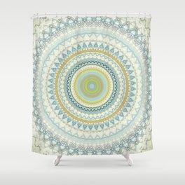 Light Yellow Aqua Mandala Shower Curtain