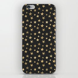 Black & Gold Star Pattern iPhone Skin