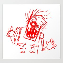 doodle zombie of the undead Art Print