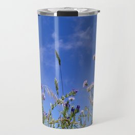 Field of blooming wildflowers on a beautiful summer day Travel Mug
