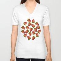 strawberry V-neck T-shirts featuring Strawberry by Julia Badeeva